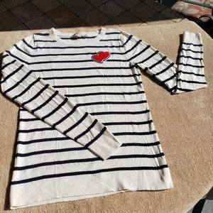 Loft heart striped sweater